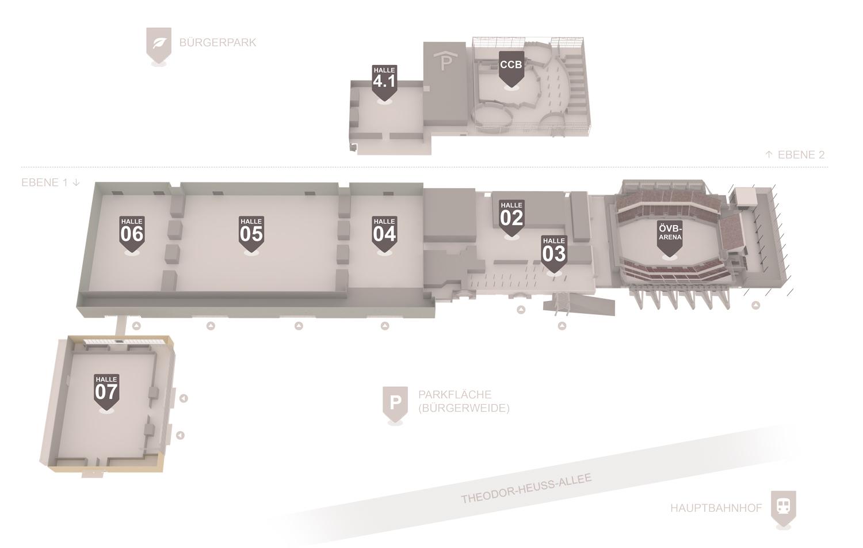 Grafik Übersicht alle Hallen